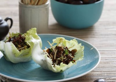 Chestnut, Chicken and Pork Lettuce Cups
