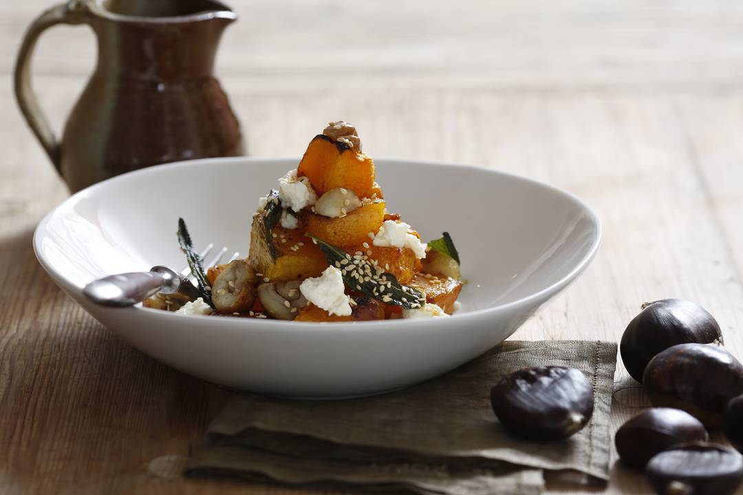 Easy Roasted Chestnut, Pumpkin and Ricotta Salad