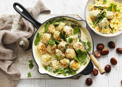 Chestnut & chicken meatballs