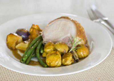 Roasted Pork Loin with Chestnuts and Veg