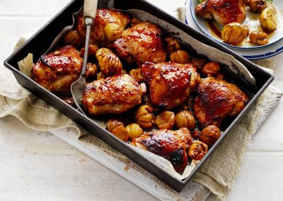 Roasted Asian-style chicken with Chestnuts