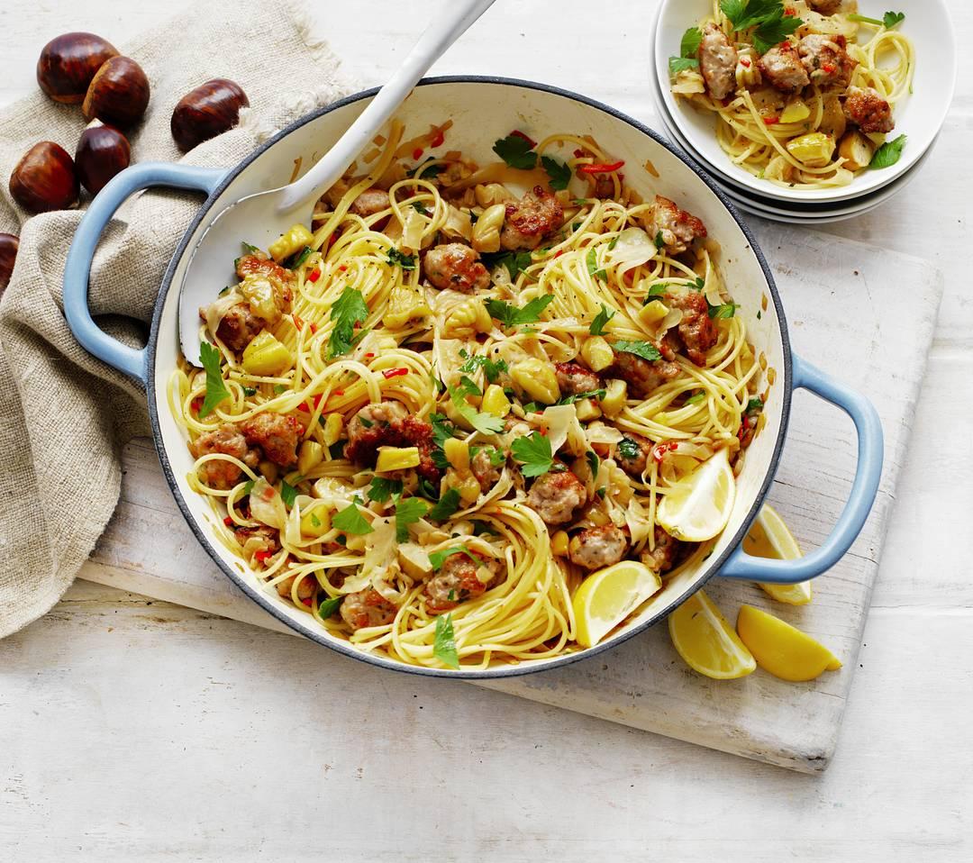 Chestnut, Italian sausage & fennel spaghetti