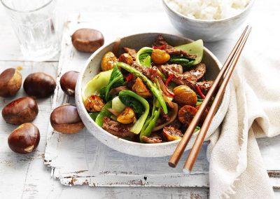 Chestnut, beef & bok choy stir-fry