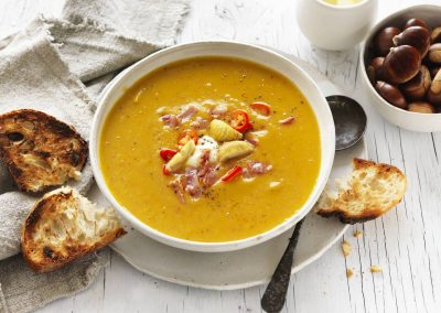 Spicy chestnut, pumpkin & pancetta soup