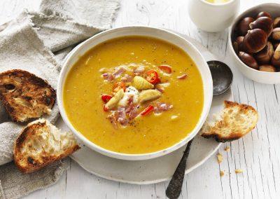 Spicy chestnut, pumpkin & pancetta soup